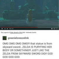 IS THAT THE SPRING FROM SKYVIEW TEMPLE???: The Legend of Zelda Breath of the Wild -Nintendo Switch  greenieloveszelink  OMG OMG OMG OMG!!! that statue is from  skyward sword.. ZELDA IS PURYFING HER  BODY OR SOMETHING!!! JUST LIKE THE  ZELDA FROM SKYWARD SWORD DID!! GOD  GOD GOD GOD IS THAT THE SPRING FROM SKYVIEW TEMPLE???