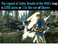 That's a lot of Moblins to kill...: The Legend of Zelda: Breath of the Wild's map  is 5300 acres or 1.5x the size of Skyrim  ATE  GAMING That's a lot of Moblins to kill...