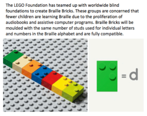 I think this is an awesome initiative for all children! via /r/wholesomememes https://ift.tt/2yoP5HQ: The LEGO Foundation has teamed up with worldwide blind  foundations to create Braille Bricks. These groups are concerned that  fewer children are learning Braille due to the proliferation of  audiobooks and assistive computer programs. Braille Bricks will be  moulded with the same number of studs used for individual letters  and numbers in the Braille alphabet and are fully compatible.  =d I think this is an awesome initiative for all children! via /r/wholesomememes https://ift.tt/2yoP5HQ