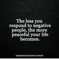 Life, Memes, and Quotes: The less you  respond to negative  people, the more  peaceful your life  becomes.  Inspirational Quotes Journal <3