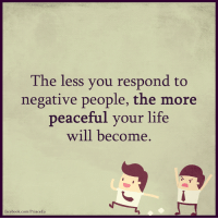 Memes, 🤖, and Negative People: The less you respond to  negative people, the more  peaceful your life  will become  facebook.com/PrinceEa