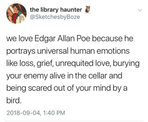 Alive, Love, and Tumblr: the library haunter  h @SketchesbyBoze  we love Edgar Allan Poe because he  portrays universal human emotions  like loss, grief, unrequited love, burying  your enemy alive in the cellar and  being scared out of your mind by a  bird.  2018-09-04, 1:40 PM whitepeopletwitter: Universal human emotions