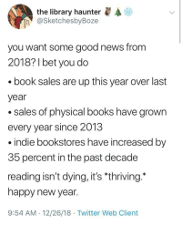 "Books, New Year's, and News: the library haunter  @SketchesbyBoze  n  you want some good news from  2018? 1 bet you do  book sales are up this year over last  year  .sales of physical books have grown  every year since 2013  indie bookstores have increased by  35 percent in the past decade  reading isn't dying, it's ""thriving.  happy new year.  9:54 AM 12/26/18 Twitter Web Client Turning the page to 2019 via /r/wholesomememes http://bit.ly/2Rdyguw"