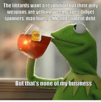 merica america usa: The libtards want a revolution but their only  weapons are velling Weedo vapes, fidget  Spinners, man buns, CNN and student debt.  But that's none of my business merica america usa