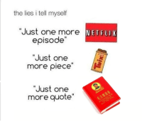 "Fan submitted, thanks comrade: the lies i tell myself  ""Just one more NETFLIX  episode""  ""Just one  more piece  ""Just one  more quote Fan submitted, thanks comrade"