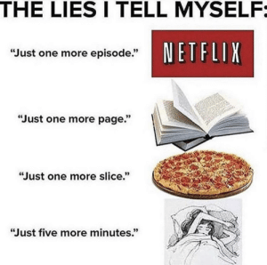 """we just can't help ourselves: THE LIES I TELL MYSELF:  NETFLIX  """"Just one more episode.""""  """"Just one more page.""""  """"Just one more slice.""""  """"Just five more minutes."""" we just can't help ourselves"""