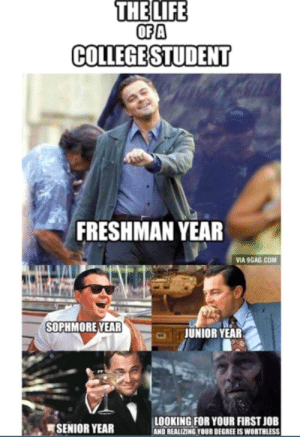 If you are a student Follow @studentlifeproblems: THE  LIFE  OFA  COLLEGESTUDENT  FRESHMAN YEAR  VIA 9GAG.COM  SOPHMOREYEAR  JUNIOR YEAR  SENIOR YEAR  LOOKING FOR YOUR FIRST JOB  AND REALIZING YOUR DEGREE IS WORTHLESS If you are a student Follow @studentlifeproblems