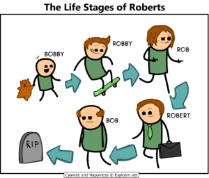 Read more comics like this at http://explosm.net/comics/2977/: The Life Stages of Roberts  ROBBY  ROB  BOBBY  ROBERT  ВОВ  RIP  Cyanide and Happiness  Explosm.net  Ar Read more comics like this at http://explosm.net/comics/2977/