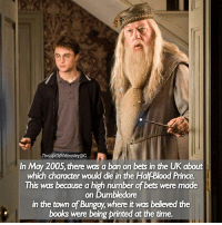 Books, Dumbledore, and Memes: The LifeofAWeasleylllG  In May 2005, there was a ban on bets in the UK about  which charader would die in the Hal Blood Prince.  This was because a high number of bets were made  on Dumbledore  in the town of Bungay where it was believedthe  books were being printed at the time. - Date: 31-05-17 -- Dodgy dodgy --- Q- do you take risks or play it safe? --- HarryPotter TheHalfBloodPrince TLOAWFacts