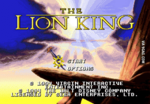 Disney, The Lion King, and Lion: THE  LION KING  START  OPTIONS  99UIRGIN INTERACTIVE  ERTAINMENT INC  ALT DISNEY COMPANY  SEGA ENTĒRPRISĒS,LTD.  1994 THE  LIDENSED B I'm getting ready for Dark Souls 3!