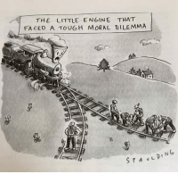 Alive, Meme, and New Yorker: THE LITTLE ENGINE THAT  FACED A TOUGH MORAL DILEMMA The New Yorker just made a Trolley Problem Meme!   What a time to be alive. o.O