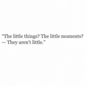 "They,  Things, and  Little Things: ""The little things? The little moments?  -They aren't little."""