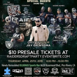 """Af, Facebook, and Food: THE  LIVING SHIELD  SPECIAL GUESTS  MORE TBA)  COSAFACE  e8  RAIDER  RAIDER JESTER QUEEN OF THE  RAIDER  SKELLINGTON  GUEST OF HONOR  JAY DA NYGMA  $10 PRESALE TICKETS AT  RAIDERSDRAFTPARTY.EVENTBRITE.COM  THURSDAY. APRIL 25TH. 20194:00 PM-10:00 PM  Newly Remodeled IGUANAS Sports Bar 8628 Rosemead Blvd, Pico Rivera, CA  1  RNALIFE  AUTISM SPEAKS Raider Nation.‼️LISTEN UP‼️TURN YOUR SPEAKERS 🔊 UP‼️HERE IS A SNEAK PREVIEW OF NAMEK's NEW SINGLE Featuring 10K """"Raider Soldier"""" and it's Banging AF 👌 NAMEK AND 10K WILL BE THROWING IT DOWN ON STAGE RIGHT BEFORE OUR 24th pick and Compton's Very own """"SECOND II NONE """" performance during the 3rd Annual """"A Raider is Born"""" NFL DRAFT PARTY.‼️ Your favorite Superfans are all starting to RSVP for this MASSIVE EPIC CELEBRATION 🍾 with more special guests TBA , JUST ANNOUNCED more Vendors for all your Merch needs including  @rn4__life and @madebytonyperez @blacksundaynow  @duarte_sports .!! TIXS ARE SELLING FAST and A small amount of Presale tixs are still available now for what would be the ☝️ party YOU DONT WANT TO MISS.‼️DONT BE THAT ONE RAIDER FAN AT THAT LAME PARTY STARING AT YOUR PHONE AND TAKING PICS OF YOUR FOOD.‼️ COME OUT AND CELEBRATE WITH THE RAIDER NATION AND GET YOUR TIXS NOW.‼️ https://www.facebook.com/events/276171613050904/?ti=icl  THIS WILL SELL OUT.‼️PROCEEDS TO BENEFIT OUR 3rd Annual Autism Awareness Walk and Autism Speaks #DM4MoreInfo #ReservedTablesForPaidPartiesOf8OrMore Brought to you by @angelcityvisionaries @jimmy.locs #AutismAwareness #RN4L #LAJay #RaiderHomies #QueenOfTheDarkness #LivingShield #RaiderSkellington #RaiderGoon #RaiderPenguin #Cosaface #RaiderJester #Sleeps"""