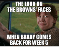 THE LOC  ON  THE BROWNS FACES  WHEN BRADY COMES  BACK FOR WEEK 5 That game won't be pretty