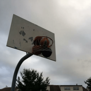 Basketball, Facepalm, and Got: The local basketball court had two balls stuck. The teens got 3 more stuck. And just gave up. That's now here-