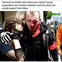 😂 Don't mess with the best! 🇺🇸: The look on Antifa face when you realize Trump  supporters are combat veterans and not what you  would expect from Xbox 😂 Don't mess with the best! 🇺🇸