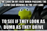 Cars, Driving, and Dumb: THE LOOK ON MY FACE WHEN PASSING THE  SLOW CAR DRIVING IN THE LEFT LANE  TO SEE IF THEY LOOK AS  DUMB AS THEY DRIVE Via Kermit memes