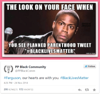 "Apparently, Apple, and Asian: THE LOOK ON YOUR FACE WHEN  YOU SEE PLANNED PARENTHOOD TWEET  #BLACKLIVESMATTER  made on imgur   PP Black Community  Follow  \듬 @PPBlackComm  #Ferguson, our hearts are with you. #BlackLivesMatter  4:26 PM- 24 Nov 2014  295 RETWEETS 172 FAVORITES <p><a href=""http://cultureshift.tumblr.com/post/110695144192/planned-parenthood-claims-that-black-lives"" class=""tumblr_blog"">cultureshift</a>:</p><blockquote><p>Planned Parenthood claims that ""black lives matter"" but that apparently doesn't apply to black unborn children. Here's what's going on in New York, where Planned Parenthood's headquarters is located:</p><p>In 2012, there were more black babies killed by abortion (31,328) in New York City than were born there (24,758), and the black children killed comprised 42.4% of the total number of abortions in the Big Apple, according to a report by the New York City Department of Health and Mental Hygiene.</p><p>There were  6,570 more abortions than live births of black children. In total, there were 73,815 abortions, which means the 31,328 black babies aborted comprised 42.4% of the total abortions.</p><p>The ratio of abortions for African-American women remained highest in the city in 2012 at 55.9%, down from nearly 60% in 2009. Asian and Pacific Island women had the lowest ratio at 17.5%.</p><p>The targeting of black babies in abortion is not limited to New York City. According to the CDC, a majority of Black or Hispanic babies were aborted in New Jersey (55.9 percent), the District of Columbia (64.8 percent) and Georgia (73.2 percent).</p><p><a href=""http://www.lifenews.com/2014/11/25/planned-parenthood-condemns-ferguson-decision-but-targets-black-babies-for-abortion/"">Read more</a>.</p></blockquote>"