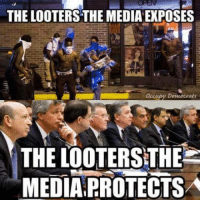 Memes, Image, and Images: THE LOOTERSTHE MEDIA EXPOSES  Occupy Democrats  THE LOOTERSTHEE  MEDIA PROTECTSA Image from Occupy Democrats