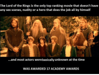 Teh movies r great bicus of Gumli: The Lord of the Rings is the only top ranking movie that doesn't have  any sex scenes, nudity or a hero that does the job all by himself  ...and most actors werebasically unknown at the time  WAS AWARDED 17 ACADEMY AWARDS Teh movies r great bicus of Gumli