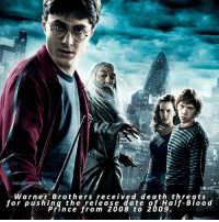 Memes, 🤖, and Warner Brothers: THE LOSTPROPH  Warner Brothers received de ath threats  for pushing the release date of Half-Blood  Prince from 2008 to 2009. Comment '🌚' if you knew this and '😱' if you didn't △⃒⃘
