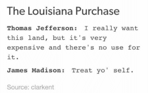 Louisiana Purchase: The Louisiana Purchase  Thomas Jefferson I really want  this land, but it's very  expensive and there's no use for  it.  James Madison: Treat yo' self.  Source: clarkent Louisiana Purchase
