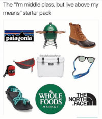 """North Face, Whole Foods, and Best: The """"'m middle class, but live above my  means"""" starter pack  patagonia  @middleclassfancy  YETI  l this  WHOLE  FOODS  THE  NORTH  FACE  MARKET @middleclassfancy is the best"""
