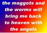 Heaven, Angels, and Back: the maggots ana  the worms wil  bring me back  to heaven with  the angels