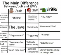 """sjw: The Main Difference  Between /pol/ and SJW's  SJW  Buzzword for  """"Mansplaining,  """"Autist""""  """"disagreeing  """"Shilling  with me''  whitesplaining,  gaslighting""""  All-powerful  The Jews The Patriarchy  Women and """"Chad  boogeyman  Buzzword  for """"what """"Degeneracy  """"Triggering  Normal  I don't like  Ultimate  Degeneracy-free  Politically  """"Beta Uprising  Goal  liberty  correct liberty""""  Means of  muh rope day  Outright  Literally doing nothing  censorship  li.e. being a NEET  achieving  this"""