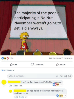 Dank, Memes, and Sex: The majority of the people  participating in No Nut  November weren't going to  get laid anyways.  1.5K  241 Comments 3,760 shares  Comment  Share  Like  Most relevant  Write a comment.  It ain't No Sex November, it's No Nut November  0S 122  Like Reply 2d  it if was no sex then I would win every year  and thats no fun  118  Like Reply 2d meirl by NickWilde992 MORE MEMES