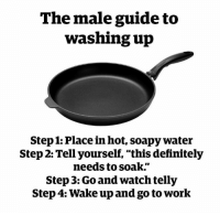 """Dank, Definitely, and Work: The male guide to  washing up  Step 1: Place in hot, soapy water  Step 2: Tell yourself, """"this definitely  needs to soak.""""  Step 3: Go and watch telly  Step 4: Wake up and go to work"""