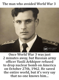 Simple Capacity: The man who avoided World War 3  SIMPLE CAPACITY  Once World War 3 was just  2 minutes away, but Russian army  officer Vasili Arkhipov refused  to drop nuclear bomb on America  on October 27th, 1962. He saved  the entire world, but it's very say  that no one knows him... Simple Capacity