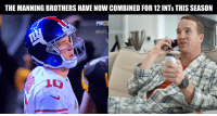 Memes, 🤖, and Brothers: THE MANNING BROTHERS HAVENOW COMBINED FOR12INTS THIS SEASON  FIXNF  @NFL  MEME Fun fact of the day: