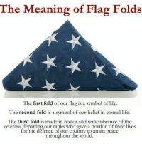 Memes, Belief, and Eternity: The Meaning of Flag Folds  The first fold of our flag is a symbol of life.  The second fold is a symbol of our belief in eternal life.  The third fold is made in honor and remembrance of the  veterans departing our ranks who gave a portion of their lives  for the defense of our country to attain peace  throughout the world 🇺🇸🇺🇸🇺🇸 Via: @u.s.veteran.pride