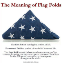 Life, Memes, and Meaning: The Meaning of Flag Folds  The first fold of our flag is a symbol of life.  The second fold is a symbol of our belief in eternal life  The third fold is made in honor and remembrance of the  veterans departing our ranks who gave a portion of their lives  for the defense of our country to attain peace  throughout the world.  ILOVEUSA. COM The meaning of flag folds. #FlagDay https://t.co/HVt5zNfxSq