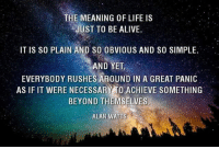 Memes, 🤖, and Alan Watts: THE MEANING OF LIFE IS  JUST TO BE ALIVE  IT IS so PLAIN AND so OBVIOUS AND SO SIMPLE  AND YET,  EVERYBODY RUSHES AROUND IN A GREAT PANIC  AS IF IT WERE NECESSARY TO ACHIEVE SOMETHING  BEYOND THEMSELVES.  ALAN WATTS