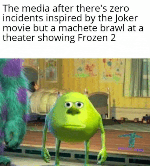 They can't believe it: The media after there's zero  incidents inspired by the Joker  movie but a machete brawl at a  theater showing Frozen 2 They can't believe it