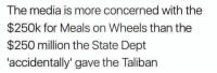 "Memes, 🤖, and Media: The media is more concerned with the  $250k for Meals on Wheels than the  $250 million the State Dept  accidentally"" gave the Taliban #boom"