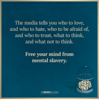 The Mind Unleashed: The media tells you who to love,  and who to hate, who to be afraid of,  and who to trust, what to think,  and what not to think.  Free your mind from  mental slavery.  THE MIND  UNCOVER YOUR The Mind Unleashed