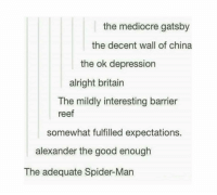 Meh.: the mediocre gatsby  the decent wall of china  the ok depression  alright britain  The mildly interesting barrier  reef  somewhat fulfilled expectations.  alexander the good enough  The adequate Spider-Man Meh.