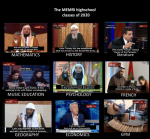 """The MEMRI highschool offered classes of 2020: The MEMRI highschool  classes of 2020  Tramlated by  - MEMRI-TV  Transiated By  مباشر  Tranated  MEMRI TVI  memritv.org  and each of these 70 virgins  comes with 70 servant girls.  Leon Trotsky the Jew established  what was known as the Soviet Red Army,  (The word) """"Kurds"""" means  """"slaves of the Persians.""""  literature  HISTORY  MATHEMATICS  Translated by  TRANSLATED BY  I MEMRITV  I MEMRI TV  Tcatod By  memritv.org  FU.  Nirmin Magdi  Fine Arts Student  dlaoll  8597  Who spread sex and prostitution  in the world? Freud, the pervert.  It's written in French...  Heavy metal is just music. It has  nothing to do with Satan worshipping.  French is a waste of time.  MUSIC EDUCATION  PSYCHOLOGY  FRENCH  Translated by  Tramlated b  MEMRI -TV  MEMRI-TV  anb  ই  MEMRI -TV  if we kill the poor,  Let's say that this is the Earth,  and let's assume that it is turning...  there will be no Communists.  GYM  ECONOMICS  GEOGRAPHY The MEMRI highschool offered classes of 2020"""