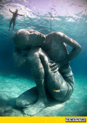 Tumblr, Bahamas, and Blog: THE META PICTURE srsfunny:18 Foot Underwater Statue Located In The Bahamas