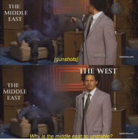 The Middle, Dank Memes, and Com: THE  MIDDLE  EAST  adultswim.com  [gunshots/  THE WEST  THE  MIDDLE  EAST  adultswim.com]  Why is the middle east so unstable? Some equality for the people complaining about my previous post