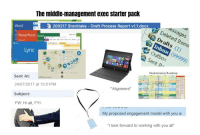 "Notebook, Excel, and Office: The middle-management exec starter pack  lessages  Deleted Items  200217 Stocktake Draft Process Report v1.1.docx  ฟื้ Drafts (1)  Word  Kapil Arya  Inb  Outbox  Sent Jh  DOx (99999)  PowerPoint Excel  Recent  Recent  My Notebook  Office  Lync  Modernization Roadmap  Sent At:  ""Alignment  24/07/2017 at 10:51PMM  Subject:  FW: Hi all, FYI  My proposed engagement model with you a  ""I look forward to working with you all"""