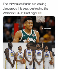 How far will the Bucks go this season 👀🔥 - Follow @_nbamemes._: The Milwaukee Bucks are looking  dangerous this year, destroying the  Warriors 134-111 last night  E_NBAMEMES  35  ARR  ARR  30  ARRIO How far will the Bucks go this season 👀🔥 - Follow @_nbamemes._