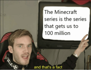 Minecraft, Videos, and Video: The Minecraft  series is the series  that gets us to  100 million  and that's a fact Almost every video has gotten 10 million views, compared to videos of a few weeks ago