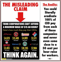 THE MISLEADING CLAIM: These 8 CEOs get paid so much that they clearly can afford to raise their worker's wages to $15 per hour.   THE REALITY: As we'll demonstrate below, the math proves this claim is questionable, at best.  JC PENNY: • 114,000 employees [1] • CEO pay: $4,629 per hour per the meme. Each employee could get a $0.04 per hour raise if the CEO's pay were entirely eliminated.   CHIPOTLE: • 53,090 employees [2] • CEO pay: $13,489 per hour per the meme. Each employee could get a $0.25 per hour raise if the CEO's pay were entirely eliminated.   Note, part of why Chipotle's CEO (Steve Ells) is so highly compensated is because he holds TWO positions, rather than just one, also serving as Chipotle's chairman. [3]  Another interesting point? Chipotle ALREADY pays its workers more than comparable fast food outlets, such as Taco Bell, Chick-fil-A, McDonald's, Wendy's, and Burger King. [4]  DUNKIN DONUTS: • 260,000 employees [5] • CEO pay: $4,889 per hour per the meme. Each employee could get a $0.01 (technically 0.018) per hour raise if the CEO's pay were entirely eliminated.   DOMINOS: • 11,000 employees [6] • CEO pay: $3,571 per hour per the meme. Each employee could get a $0.32 per hour raise if the CEO's pay were entirely eliminated.   WENDY'S: • 31,200 employees [7] • CEO pay: $3,465 per hour per the meme. Each employee could get a $0.11 per hour raise if the CEO's pay were entirely eliminated.   WAL-MART: • 2,200,000 employees [8] • CEO pay: $2,704 per hour per the meme. Each employee could get a $0.00 (technically 0.001) per hour raise if the CEO's pay were entirely eliminated.  STAR-BUCKS: • 191,000 employees [9] • CEO pay: $10,285 per hour per the meme. Each employee could get a $0.05 per hour raise if the CEO's pay were entirely eliminated.  MACY'S: • 166,900 employees [10] • CEO pay: $7,904 per hour per the meme. Each employee could get a $0.04 (technically 0.047) per hour raise if the CEO's pay were entirely eliminated.  CONCLUSION: Considering that th
