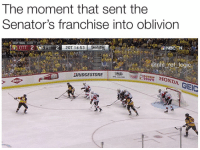 Honda, Logic, and Memes: The moment that sent the  Senator's franchise into oblivion  20T 14:53  @nhl ref logic  moUK  DUNKIN  DONUTS  HONDA GEIC  BRIDGESTONE  ORKIN To think that one goal could've sent them to the Stanley Cup and now they're bottom feeders in the East