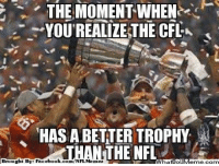 Fac, Meme, and Nfl: THE MOMENT WHEN  YOUREALIZE THE CFL  HAS ABETTER TROPHY  THE NFL  Brought By Fac  ebook.  com/NFL Mennez  atipi Meme, com Awkward Moment!