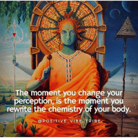 Live on the higher planes 🙌🏻via @positive_vibe_tribe: The moment you change your  perception, is the moment you  rewrite the chemistry of your body.  @POSITIVE VIBELTRIBE Live on the higher planes 🙌🏻via @positive_vibe_tribe